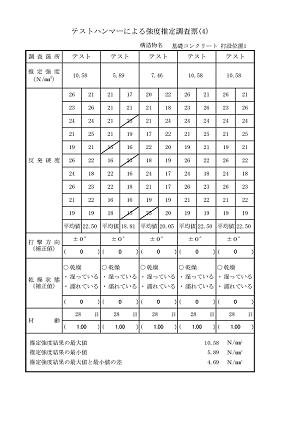 テストハンマーによる強度推定調査票(4)